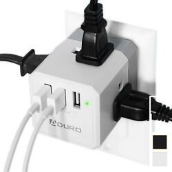 Aduro PowerUp Squared 3 Outlet & 3 USB Charging Station Portable Mini Travel $12.99