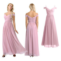 Women Off Shoulder V Neck Bridesmaid Evening Party Cocktail Prom Gown Maxi Dress