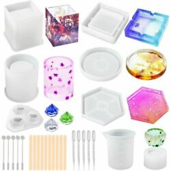 Silicone Resin Molds Epoxy Casting Art Coaster Cup Pen Candle Ashtray Bowl Mat $12.99