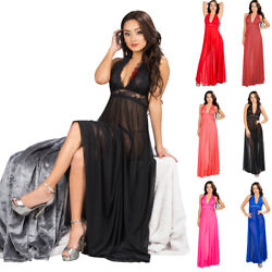 Women Sexy Lingerie Lace Long Deep V Dress G String Babydoll Nightgown Sleepwear $18.99