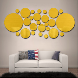 Modern Decor Geometric Circle 3D Stereo Removable Mirror Wall Sticker for home $4.99