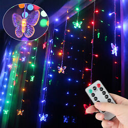 Colorful Butterfly 96 LED String Curtain Lights Wedding Children Room Decor Lamp $15.97