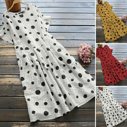 ZANZEA Womens Casual Short Sleeve O Neck Shirt Dress Polka Dots Holiday Dresses $16.27