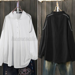 Womens Casual Full Sleeve Embroidery Shirt Tops Cotton Lapel Button Long Blouses $13.63