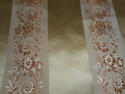 Antique Antique French Regency Floral Stripe Silk Brocade Jacquard Fabric 1 gold $59.00