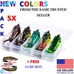 5x High Quality Fishing Lures Frog Topwater Crankbait +BOX Bass Bait Tackle NEW $14.97
