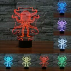 Octopus LED Visual Light Table Lamp Acrylic 7 Color Night Light Touch Switch USB $19.35
