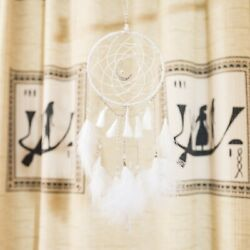 White Dream Catchers for Bedroom With Tassel and Half Moon Pendant MLDC 12 $14.99