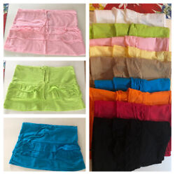 Ladies 100% Cotton Layered Ruffled Frill Detail Mini Skirts 9 Colors $6.00