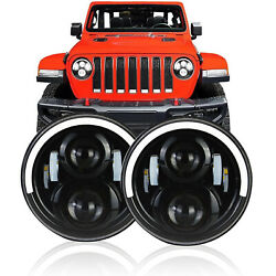 Pair 7 INCH LED Headlights Half Halo Angle Eye For Jeep Wrangler CJ JK LJ 97-18 $43.99