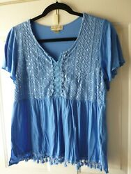 Stein Mart live and let live blue crochet and lace bodice top M $10.00