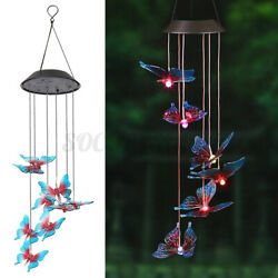 Solar Color Changing LED Butterfly Wind Chimes Light Lamp Home Room Wall Decor $12.95
