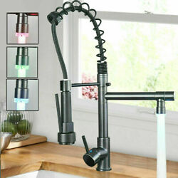 LED Kitchen Sink Faucet High Arc Spring Pull Down Sprayer Faucet with 10in Cover