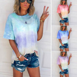 Tie Dye Short Summer Womens Sleeve Blouse Casual Tops U Neck Pleated Top T Shirt $8.99