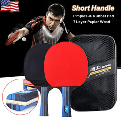 Pair Table Tennis Racket Double Pimples in Rubber Ping Pong Paddle Bat with Case $13.28