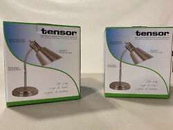 Tensor CFL Gooseneck Desk Lamps Brush Steel No Bulb 2 Pack $29.98