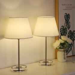 Set of 2 Modern Bedside Lamps with Acrylic Base Small Nightstand Lamps $38.99
