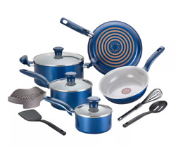 T-fal Cookware Set 12 Piece Non-Stick Pots Pans Aluminum Dishwasher Safe - Blue $87.00