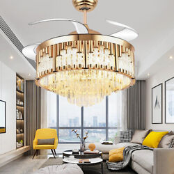 42quot; Invisible Ceiling Fan Lamp Luxury Crystal Remote Control LED Chandelier Gold $199.79