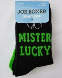 JOE BOXER MISTER LUCKY BOYS NOVELTY SOCKS 2 PAIR FITS 6 8.5 BLACKGREENSHAMROCK $3.00