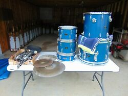 Vintage Apollo Drum Set Blue Sparkle 5 Drums 3 Cymbals Stands  1960-70's $499.00