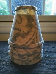 Vintage Linen Grey Tan Print Mini Lamp Shade Clip On Hardback 3quot;x 6quot;x 5quot; $9.95