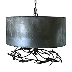 Country Chandelier Pendant Light with Twig Accents and Barrel Shape $438.90