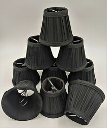 Set of 9 Black Fabric Chandelier Candle Lamp Shade 3quot;x4quot;x5quot; Gothic Goth Emo $29.97