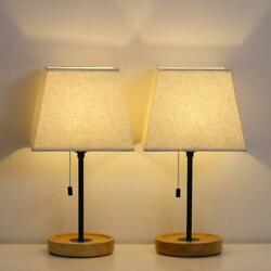 HAITRAL Modern Table Lamps Bedside Lamps Set of 2 with Convenient Pull Chain $33.99