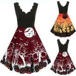 Womens Retro Halloween Printed Midi Swing Dress Evening Party Cocktail Dresses $19.66