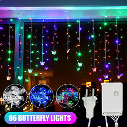 96 LED Butterfly String Curtain Lights Colorful Wedding Children Room Decor Lamp $15.97