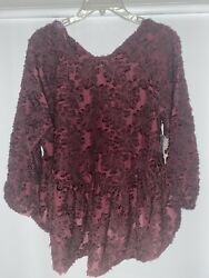 Altar'd State Burgundy Long Sleeve Blouse with Lace Overlay Size M MSRP $69.95 $22.99