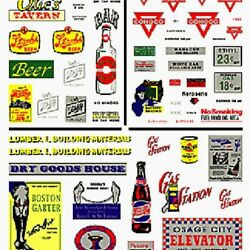 Woodland Scenics DT551 Tavern Gas Stations Commercial Sign Dry Transfer Decal