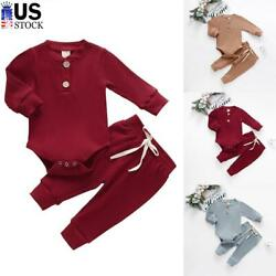 Newborn Baby Boy Girl Clothes Ribbed Romper Jumpsuit Bodysuit Pants Outfits Sets $16.49