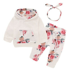 Newborn Baby Girl Clothes Floral Hooded Tops Pants Tracksuit Toddler Outfits Set $16.09