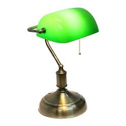 Bankers Lamp Brass Base Traditional Emerald Green Glass ShadeVintage Office $63.99