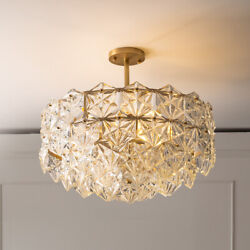 Modern K9 Crystal Chandelier Lighting Flush Mount LED Ceiling Light Fixture $203.39