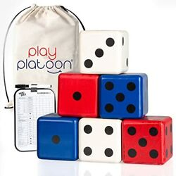 Lawn Dice with Scoreboard Giant Red White amp; Blue Wooden Yard Dice Outdoor Game $26.99