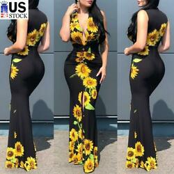 ️Women#x27;s Sunflower Sexy Plunge V Neck Long Maxi Dress Bodycon Party Ball Gown US $22.19