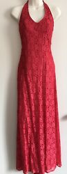 Vintage Scene Red Floral Lace Overlay Halter Dress Gown With Small Train Sz 34 $18.99