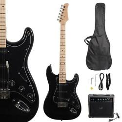 New Beginner Black Electric Guitar Kit with Amp amp; Accessories $98.77