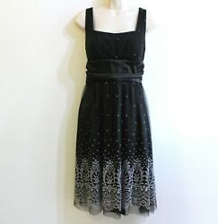 Onyx Women#x27;s Black Dress Size 12 Special Occasion Formal Party Silver Beaded $19.99