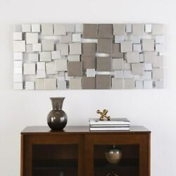 Large Metal Sculpture Abstract Modern Silver Wall Art Contemporary Modern Decor $122.99