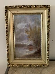Antique Oil Painting On Canvas Landscape Painting Framed Mint Condition $299.00
