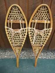 GREAT VINTAGE SNOWSHOES 36quot; Long x 11quot; Wide with Leather Bindings READY TO USE $59.76