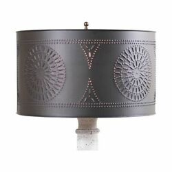 Floor Lamp Drum Shade with Chisel in Kettle Black Tin $58.00