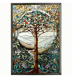 WALL ART TREE OF LIFE ART GLASS PANEL STAINED GLASS PANEL SUNCATCHER $79.95