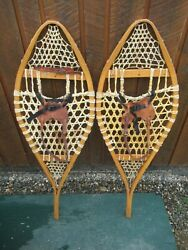 GREAT VINTAGE Snowshoes 41quot; Long x 14quot; with Leather Bindings For DECORATION $49.84