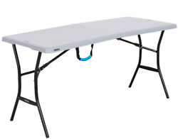 5 ft Folding Table Camping Party Dining Picnic Portable Carry Handle Steel Frame $49.75
