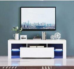 Modern High Gloss TV Unit Cabinet Stand with LED Lights Shelves Living $122.99